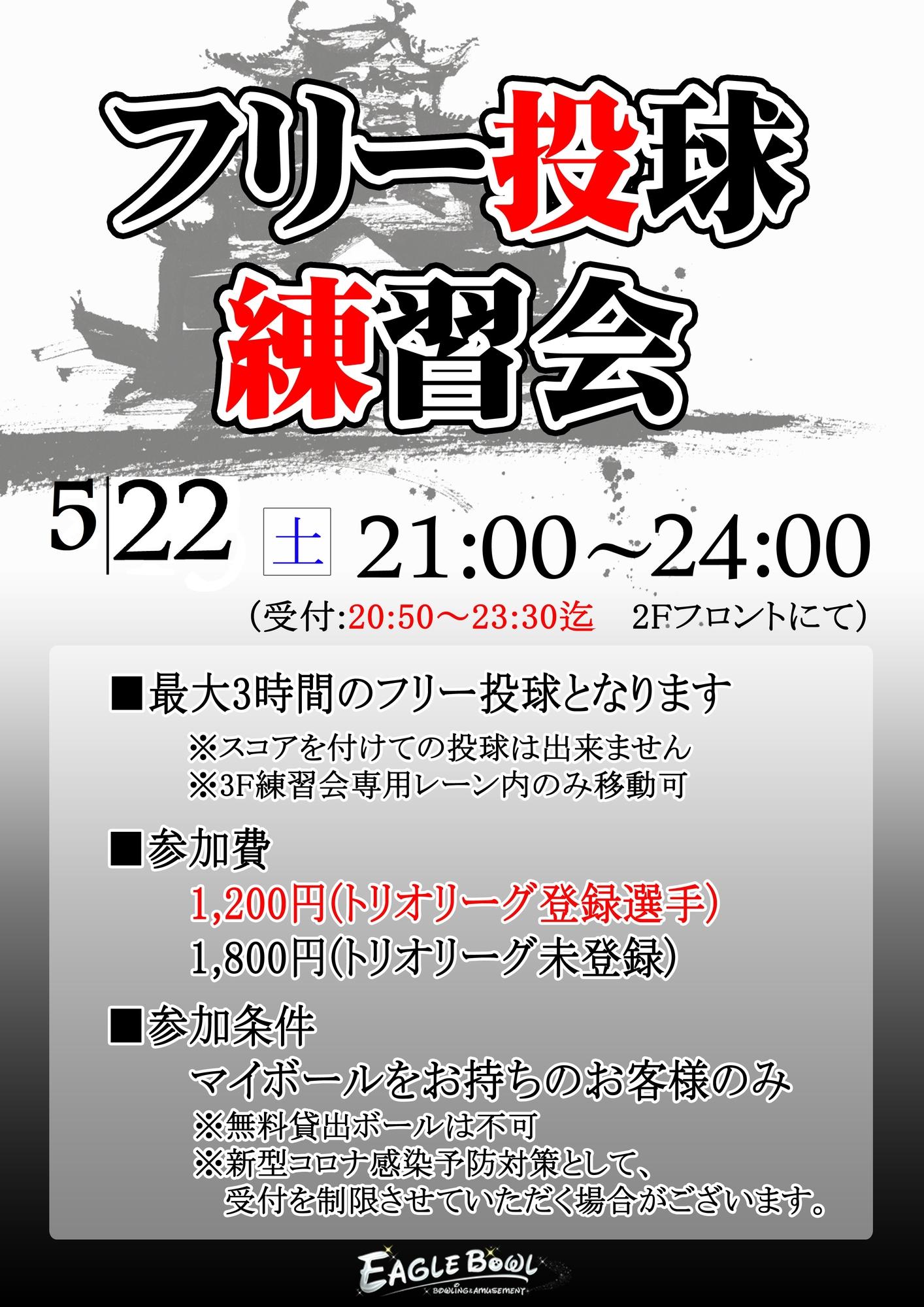 5/22(土)21:00〜フリー投球練習会